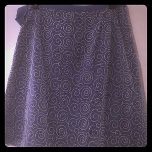 J Crew blue A-Line skirt w/white embroidery Lined
